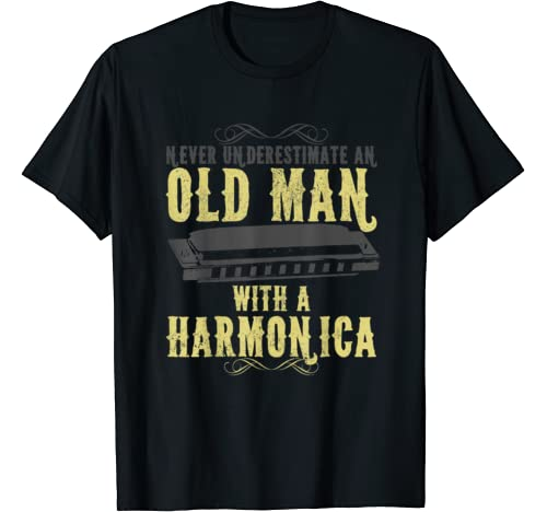 Mens Never Underestimate An Old Man With A Harmonica Vintage Gift T Shirt