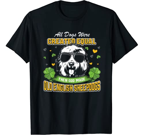 St Patricks Day Irish Shamrock Clover Old English Sheepdogs T Shirt