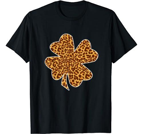 Girls Leopard Shamrock St Pattys Day Gift T Shirt