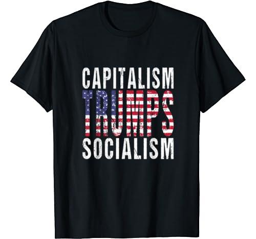 Capitalism Trumps Socialism   Us Flag Trump Anti Socialism T Shirt