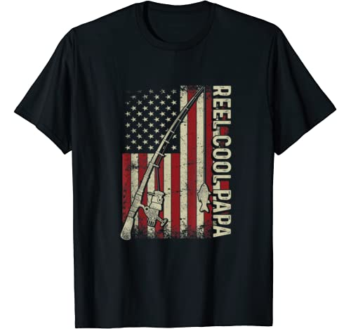 Mens Reel Cool Papa American Flag Fishing Christmas T Shirt T Shirt