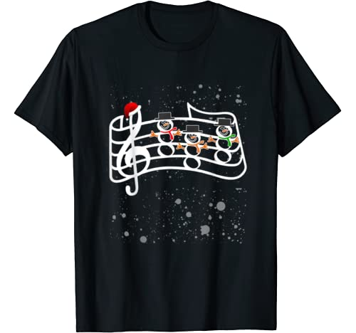 Snowman Christmas Music Gift For Musician Kids Son's Friends T Shirt