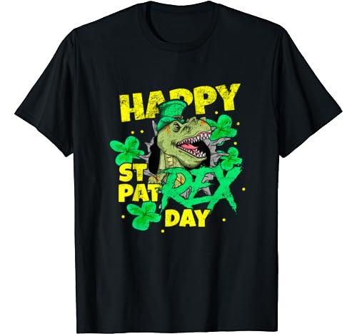 St Patricks Day T Rex Happy Day Dinosaur Gift T Shirt