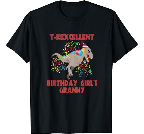 T Rexcellent Dinosaur Birthday Girl's Granny Family Hoodie T Shirt