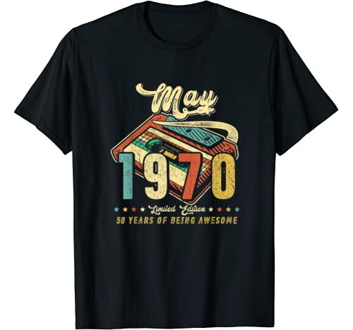 Vintage May 1970 Made In 1970 50th Birthday 50 Years Old T Shirt