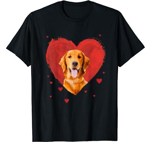 Valentines Day Golden Retriever Love Heart T Shirt