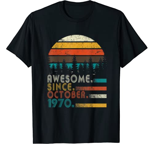 Vintage Awesome Since October 1970 50th Birthday Gift T Shirt