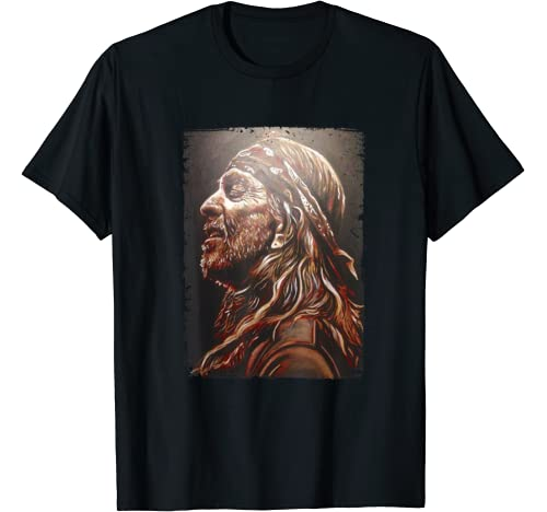 Graphic Willie Tee Nelson Love Music Retro American Usa Flag T Shirt