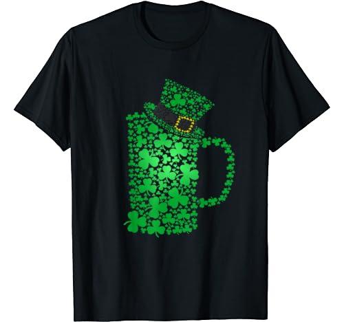 Irish Shamrock Beer Hat Clover Saint St.Patrick's Gift T Shirt