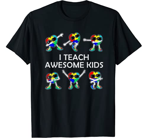 I Teach Awesome Kids Hearts Puzzle Autism Awareness Costume T Shirt