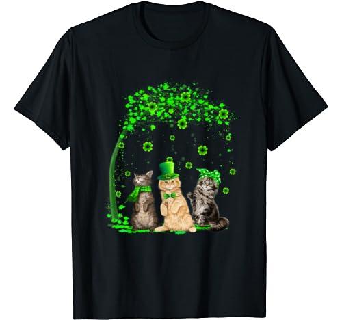Three Cats Leprechaun Shamrock St Patrick's Day Gifts T Shirt