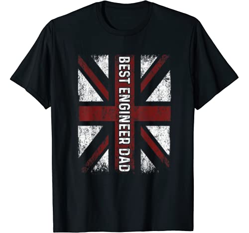 Vintage Uk Flag Best Engineer Dad Father's Day Gift T Shirt