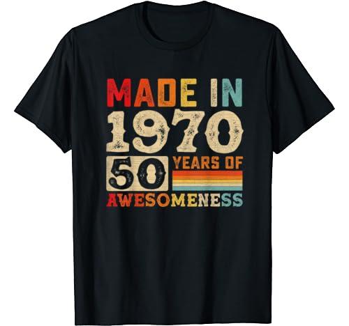 Vintage 1970 50th Birthday Tshirt 50 Years Of Awesomeness T Shirt
