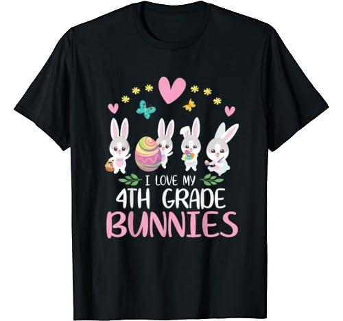 Hearts Eggs I Love My 4th Grade Bunnies Happy Easter Teacher T Shirt