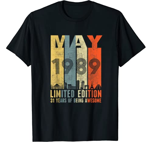 May 1989 Vintage Funny 31st Birthday Gift T Shirt