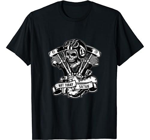 Not Today Satan Vintage Old School Hd Shovelhead Biker Gear T Shirt
