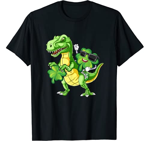 Shamrock Riding Dinosaur T Rex St Patricks Day Gift T Shirt