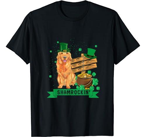 Shamrockin' Golden Retriever St Patricks Day Tshirt Dog T Shirt