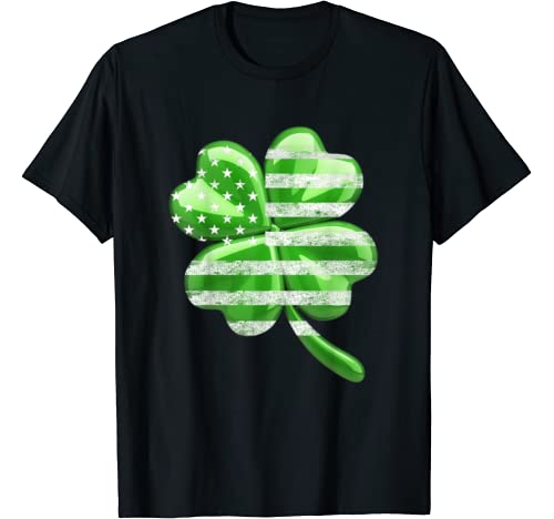 Irish American Flag Vintage Shamrock St Patricks Day T Shirt