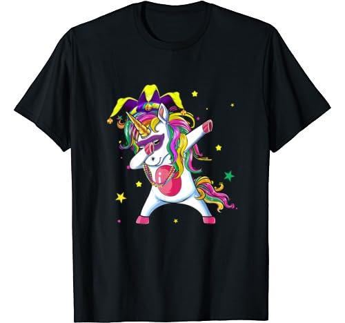 Funny Dabbing Unicorn Mardi Gras Funny Girls Kids Dab T Shirt
