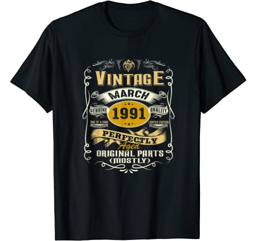 Vintage March 1991 29th Birthday Gift Idea 29 Years Old T  T Shirt