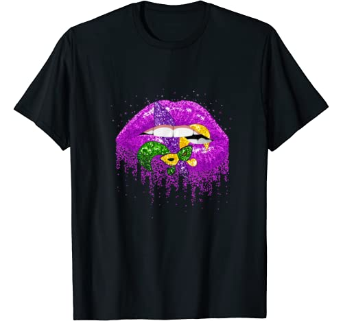 Mardi Gras Carnival Costume Purple & Gold Fleur De Lis Lips T Shirt