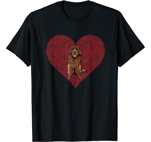 Newfoundland Valentines Day Dog Love Fingerprint T Shirt