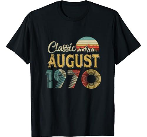 Retro Vintage August 1970 50th Birthday Gift For Men Women T Shirt