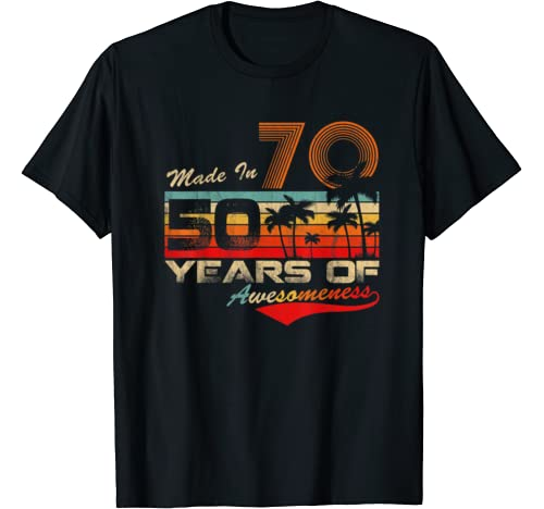 Vintage 50th Bday Tshirt Made In 70 50 Years Of Awesomeness T Shirt