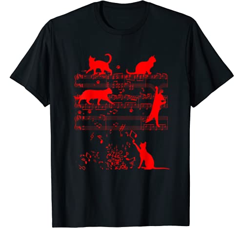 Cute Cats Playing With Music Notes | Funny Musician Gift T Shirt