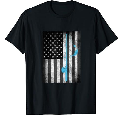 American Flag Fishing Vintage Gift For Fishermen Men Women T Shirt
