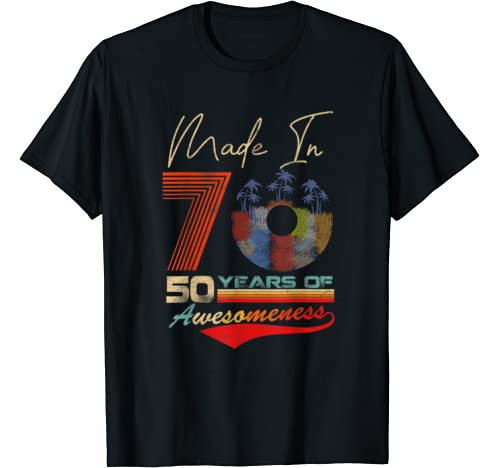 Retro Made In 70 50 Years Of Awesomeness Tshirt Vintage 1970 T Shirt