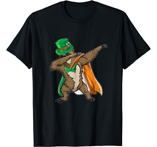 St.Patrick's Paddys Day Dabbing Sloth Irish Flag Gifts Dab T Shirt