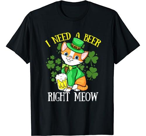 Irish Beer Cat T Shirt St Patricks Day Drinking Shirts Gift T Shirt