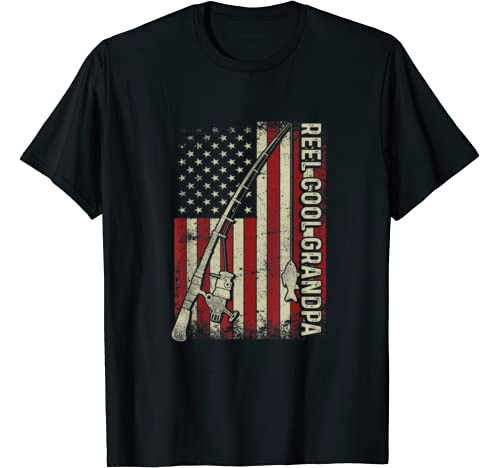 Mens Reel Cool Grandpa American Flag Fishing Christmas T Shirt T Shirt