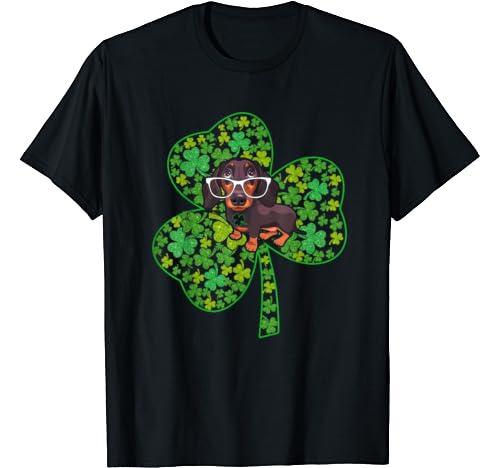 Dog Lovers Shamrock Heart St. Patrick's Day Funny Dachshund T Shirt