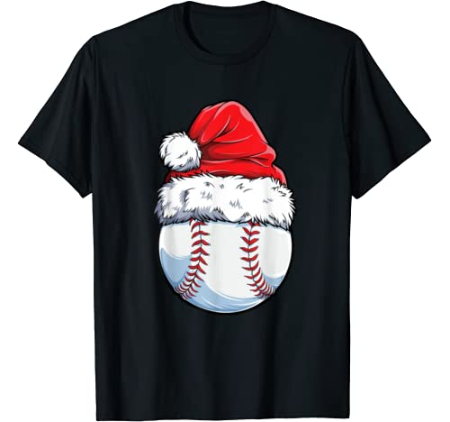 Christmas Baseball Ball Santa Hat Funny Sport Xmas Boys Men T Shirt