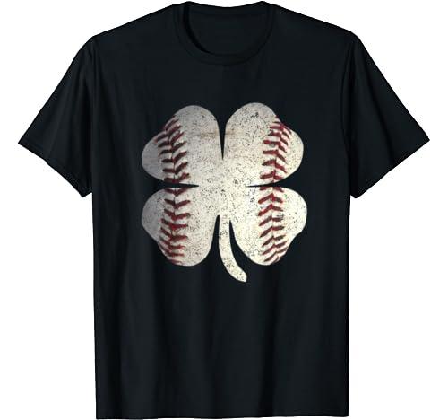 Baseball St. Patrick's Day Boys Men Catcher Pitcher Shamrock T Shirt