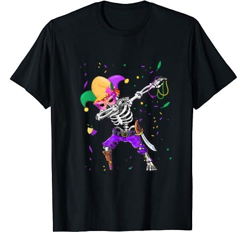 Dabbing Skeleton Pirate Halloween Kids Jolly Roger Funny T Shirt