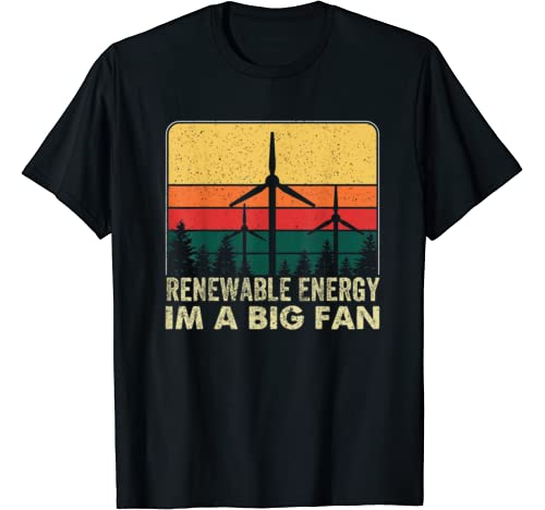 Vintage Earth Day Costume Renewable Energy I'm A Big Fan T Shirt