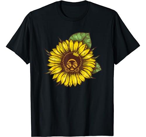 Black Woman Africa American Sunflower Black History Month T Shirt