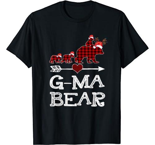 G Ma Bear Red Plaid Reindeer Dabbing Hat Santa Christmas T Shirt