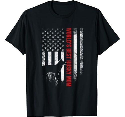 Vintage American Flag World's Best Siberian Husky Mom Funny T Shirt
