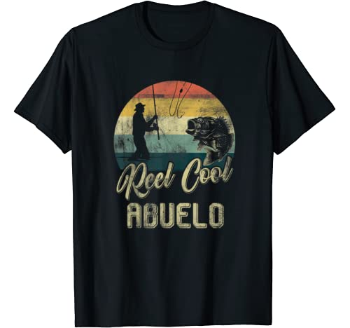 Mens Funny Vintage Reel Cool Abuelo Fish Fishing Father's Day T Shirt