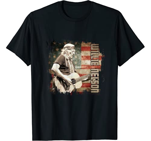 Vintage Willie Tees Nelson Country Music Retro Flag American T Shirt