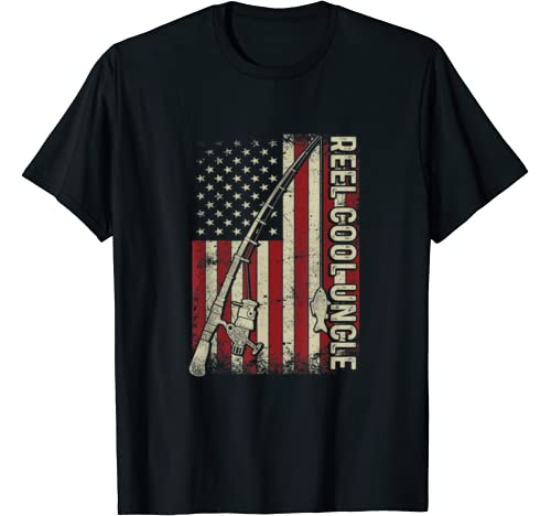 Mens Reel Cool Uncle American Flag Fishing Christmas T Shirt T Shirt