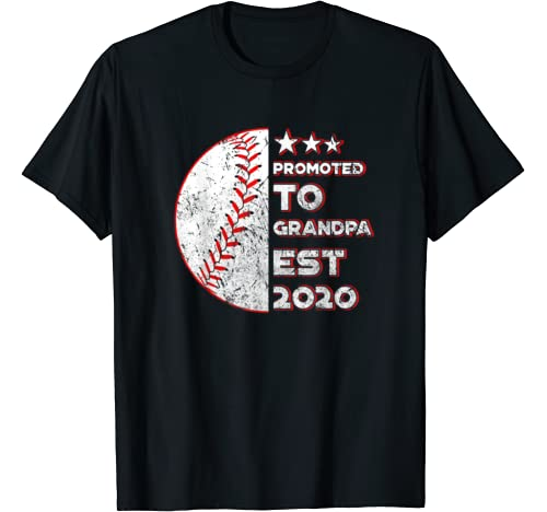 Mens Promoted To Grandpa Est 2020 Costume Gender Reveal Party T Shirt