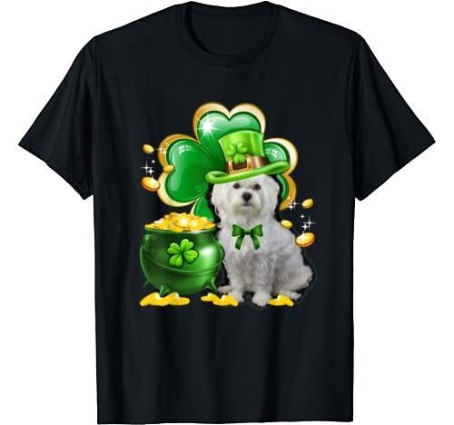 Maltese Dog Shamrock St Patricks Day Dog Irish Gift T Shirt