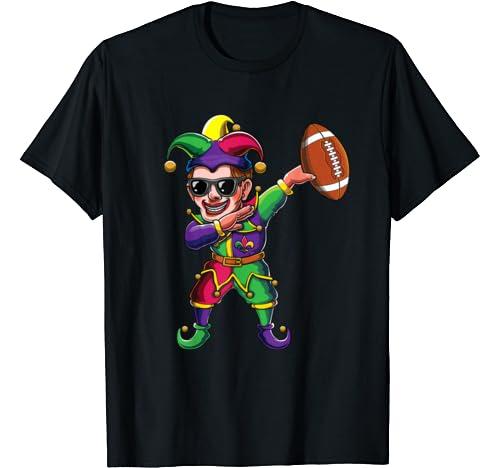 Cute Dabbing Mardi Gras Jester Football Dab Costume Gift T Shirt