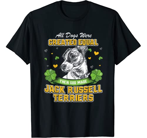 St Patricks Day Irish Shamrock Clover Jack Russell Terriers T Shirt